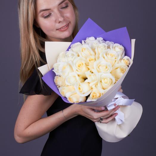 25 белых роз Близард, премиум класс. Эквадор: букеты цветов на заказ Flowwow