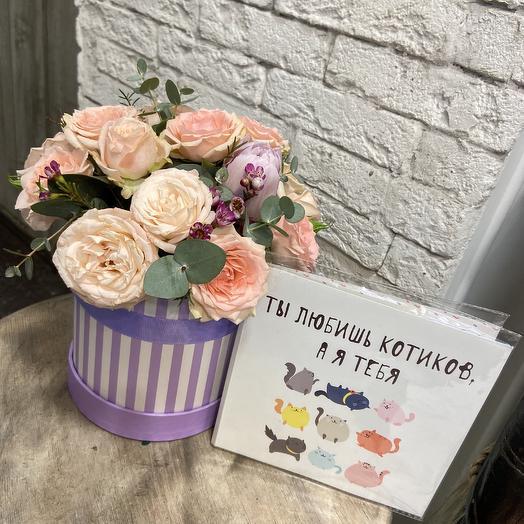 Нежная коробочка для принцессы с шоколадной открыткой: букеты цветов на заказ Flowwow