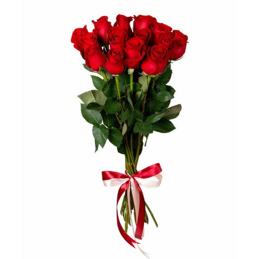 15 красных роз (60 см)