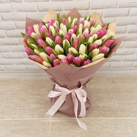 Букет из 101 бело розовых тюльпанов 😍