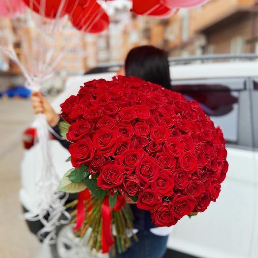 101 Роза+ 35 шаров сердце️️️️️️