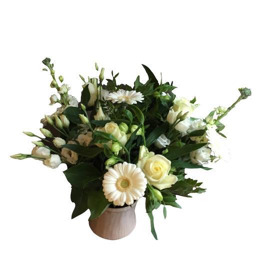 White condoleance bouquet