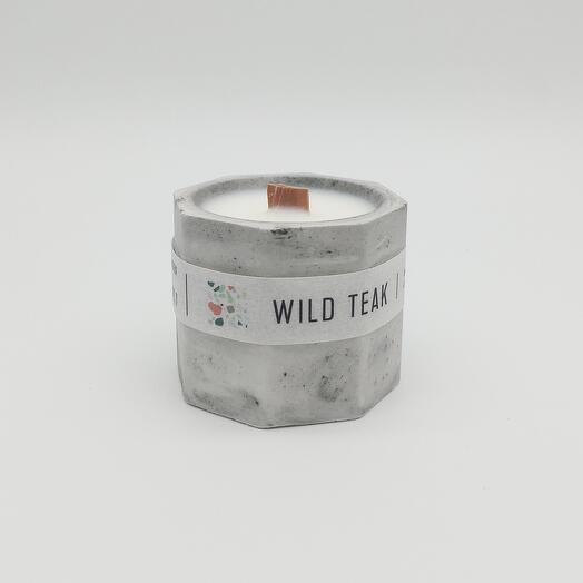 Арома свеча в бетоне 60 мл, древянный фитиль, Дерево Тик
