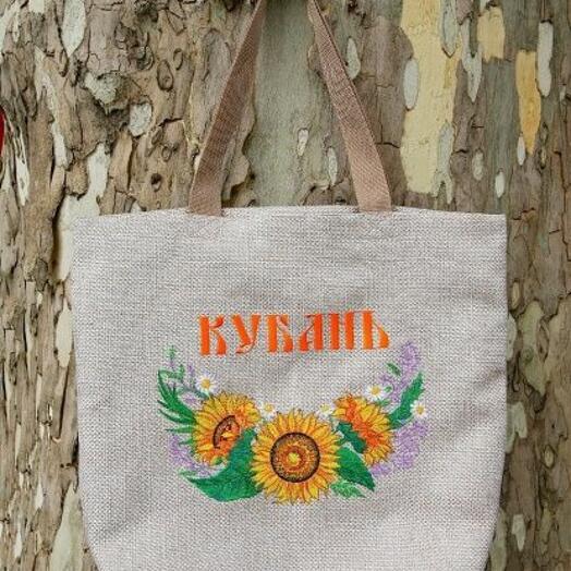 "Сувенир сумка-шопер 46*40*10 с вышивкой ""Подсолнухи"" с молнией"