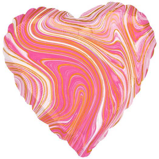 Шар фольга мрамор розовый