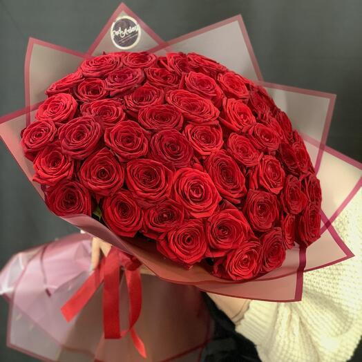 """Букет """"51 роза с крупным бутоном"""" 60 см"""