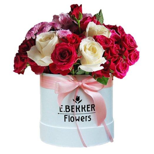 Осенний поцелуй (в шляпной коробке 20*20): букеты цветов на заказ Flowwow