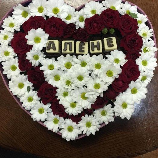 Коробочка из роз и ромашек): букеты цветов на заказ Flowwow