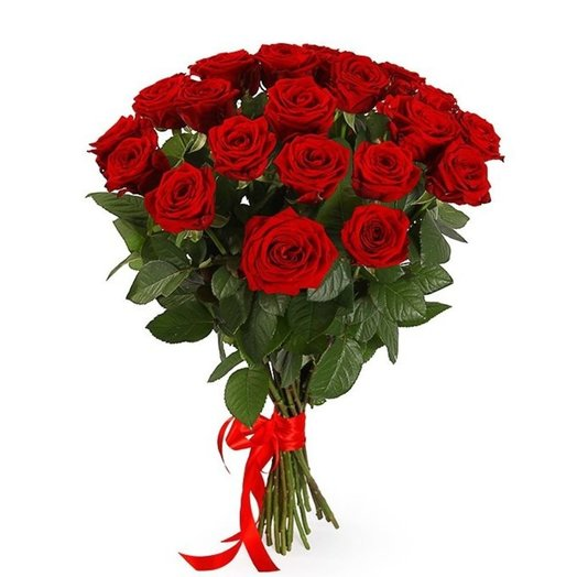 букет из 21 красной розы 50 см