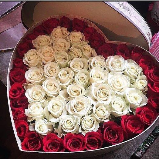 """Сердце с розами"": букеты цветов на заказ Flowwow"