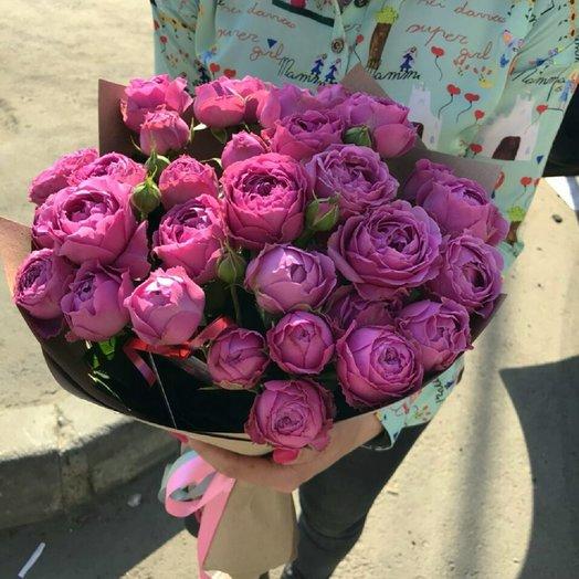 11 кустовых пионовидных роз в крафте: букеты цветов на заказ Flowwow