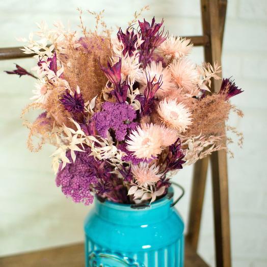 Букет из сухоцветов в вазе GARDEN: букеты цветов на заказ Flowwow