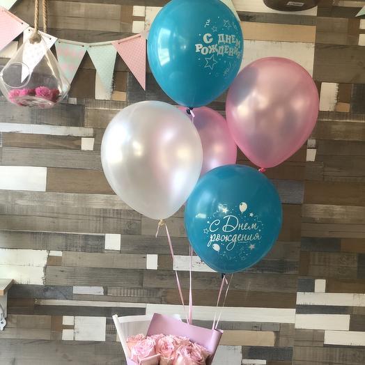 Фонтан из шаров «С Днём рождения!»