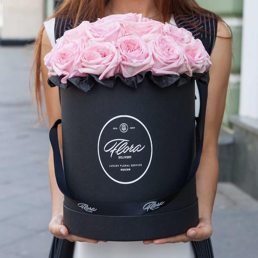 Розовые розы Pink O Hara в шляпной коробке Grand BLVCK