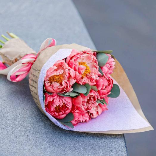 """Букет """"9 Пионов"""": букеты цветов на заказ Flowwow"""