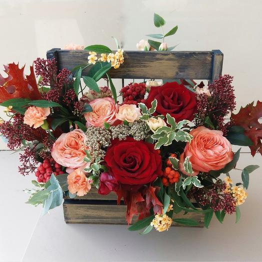 """Ящик с цветами """"Осенний вальс"""""""