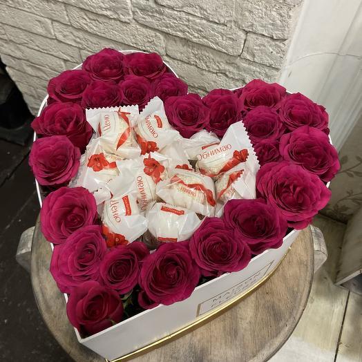 Сладкое сердце для любимой: букеты цветов на заказ Flowwow