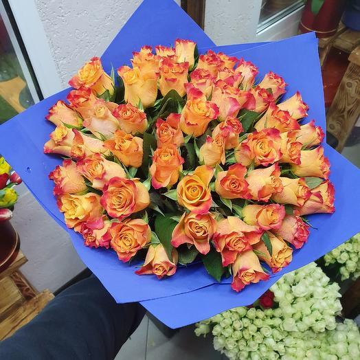 Букет из 51 оранжевой розы: букеты цветов на заказ Flowwow
