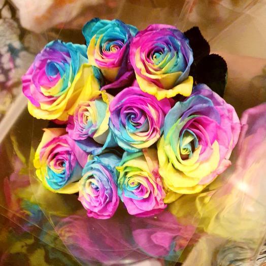 Радужные розочки 9 Шт: букеты цветов на заказ Flowwow