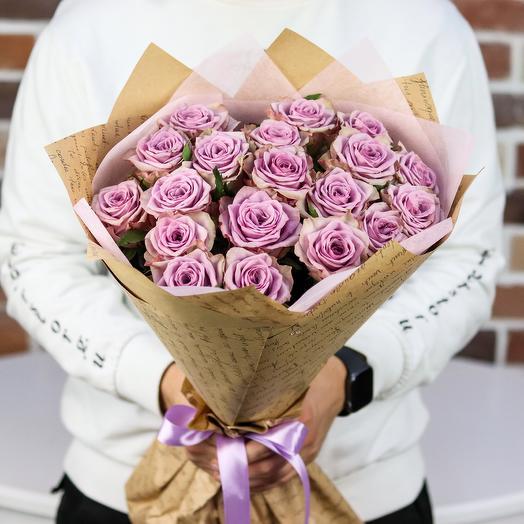 Букет из 19 сиреневых роз. N849