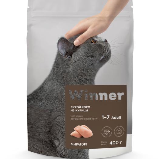 Winner полнорационный сухой корм для кошек домашнего содержания из курицы 400 г