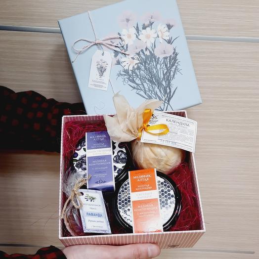 Набор с медом в коробке подарочной