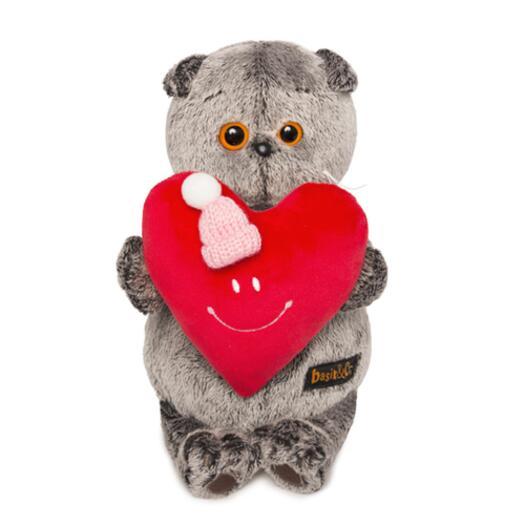 """Мягкая игрушка """"Кот Басик"""" с красным сердечком в шапочке 22 см"""