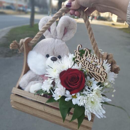 Ящик Кустовых Хризантем и Роз + Мягкая игрушка - Заяц