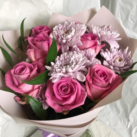 Букет Роза с хризантемой