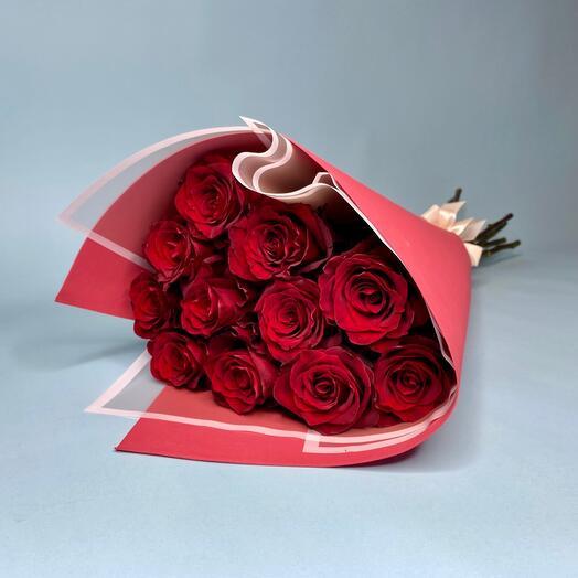 11 Шикарных бордовых роз (70см)