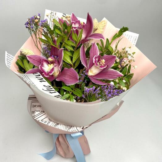 Комплимент с орхидеями в авторской упаковке