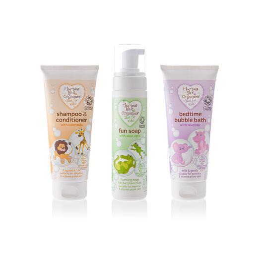 Набор для детей (шампунь + пенка + весёлое мыло), Mumma Love Organics