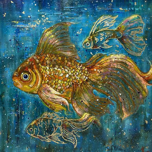 "Картина ""3 золотые рыбки"" 80*80 см. масло, холст"