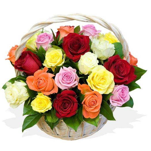 Корзинка из роз Улыбка: букеты цветов на заказ Flowwow