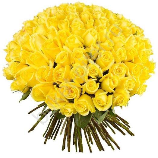 101 желтая роза 60см
