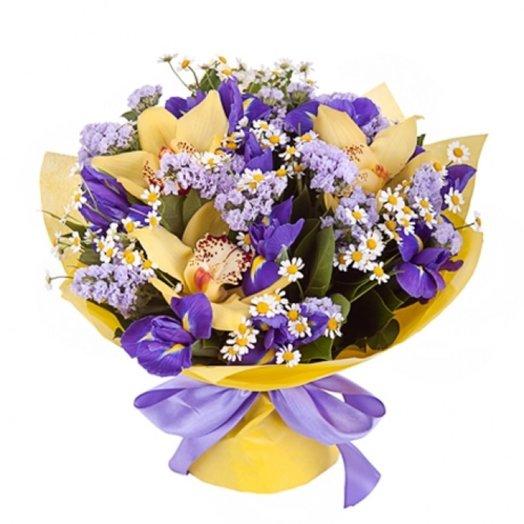 Букет в фиолетово желтой гамме Медея