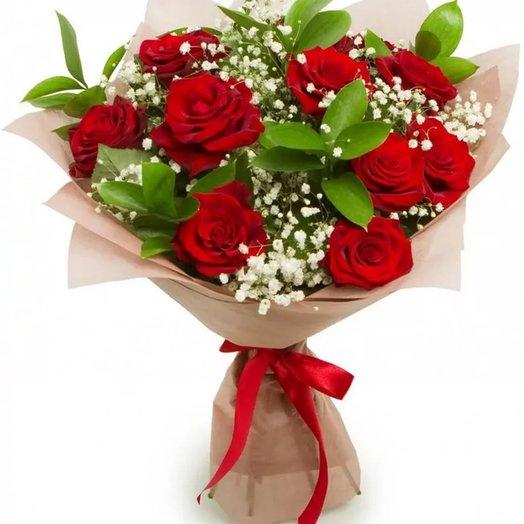 9 Красных роз с зеленью