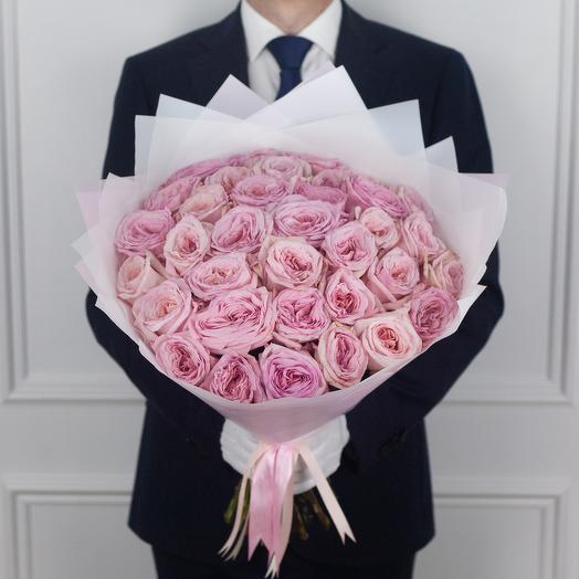 Букет из 35 ароматной экводорской розы Pink O Hara