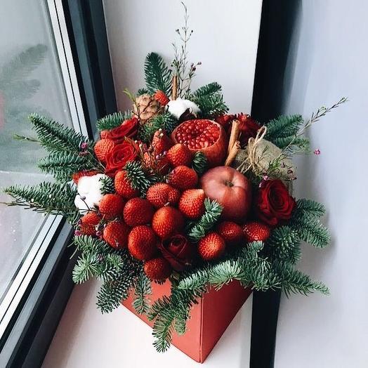 "Bouquet fruity ""Christmas tale"": flowers to order Flowwow"