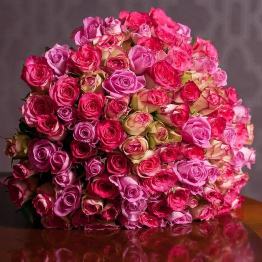 """101 роза """"Розовый микс"""": букеты цветов на заказ Flowwow"""
