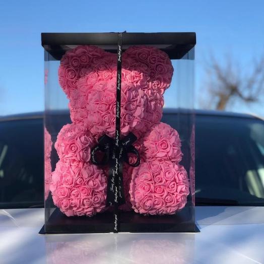 Мишка из роз 40 см, розовый: букеты цветов на заказ Flowwow