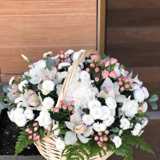 """Большая корзина цветов """"Нежное облачко"""""""