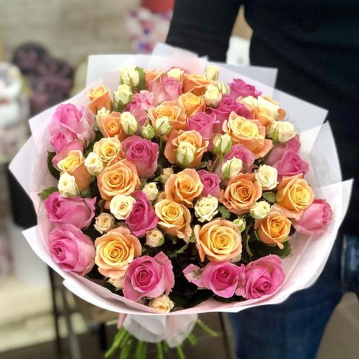 Кремово-розовый микс: букеты цветов на заказ Flowwow