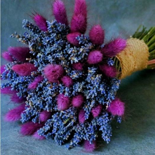 Лаванда и сиреневый лагурус: букеты цветов на заказ Flowwow
