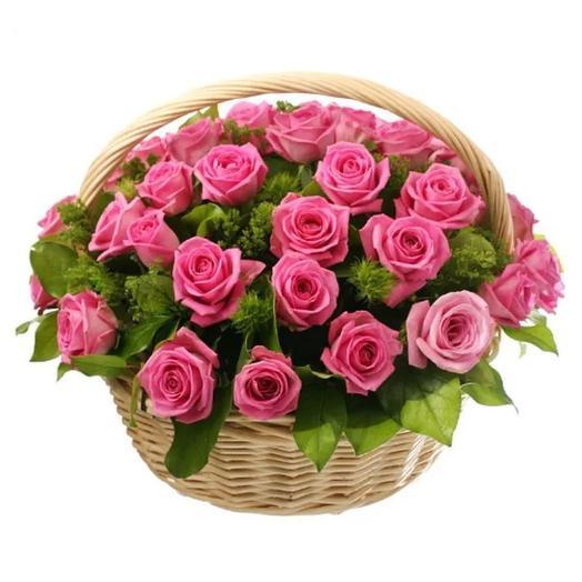 Корзина из 25 розовых роз: букеты цветов на заказ Flowwow