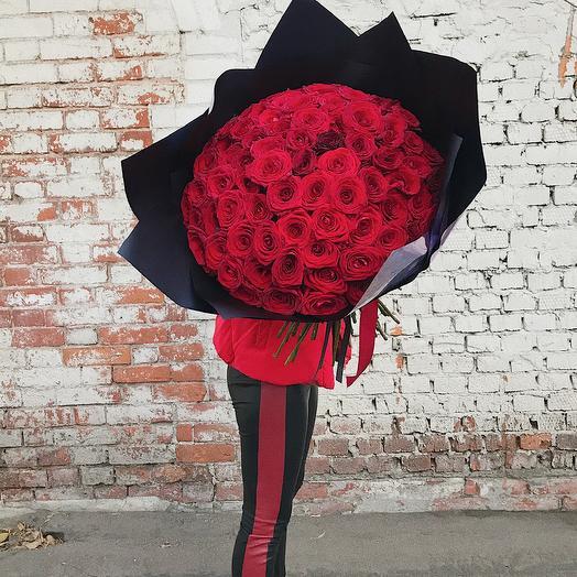 101 красная роза 70 см: букеты цветов на заказ Flowwow
