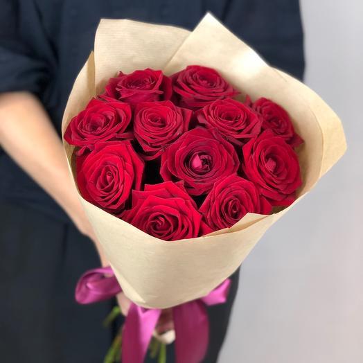 Красный бархат 11 бордовых роз 60см♥️