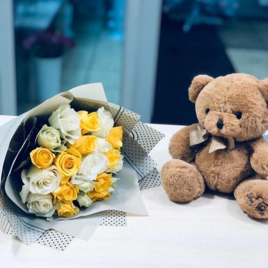 Комбо Цветы + Мишка