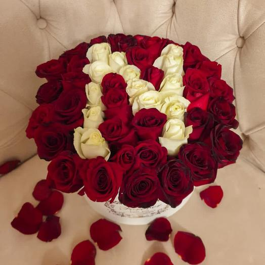 Initials on the box of 50 roses