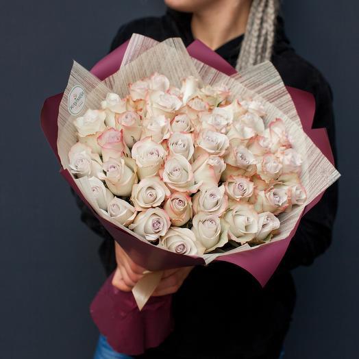 """Букет из 49 роз Эквадор """"Нежный нюд"""""""